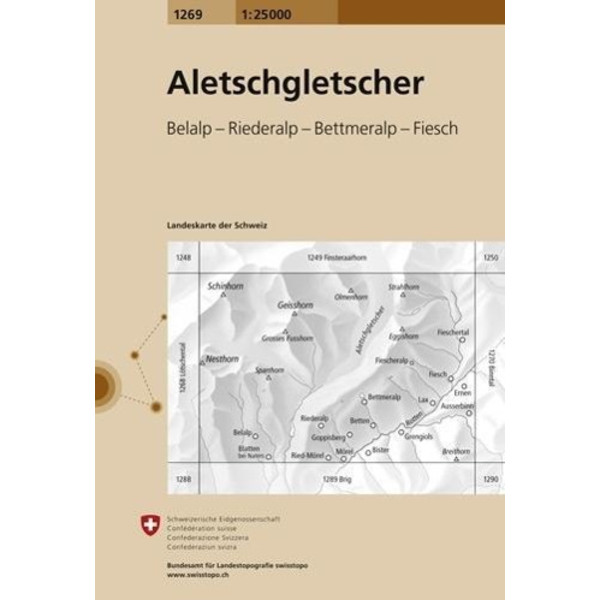Swisstopo 1 : 25 000 Aletschgletscher - Wanderkarte
