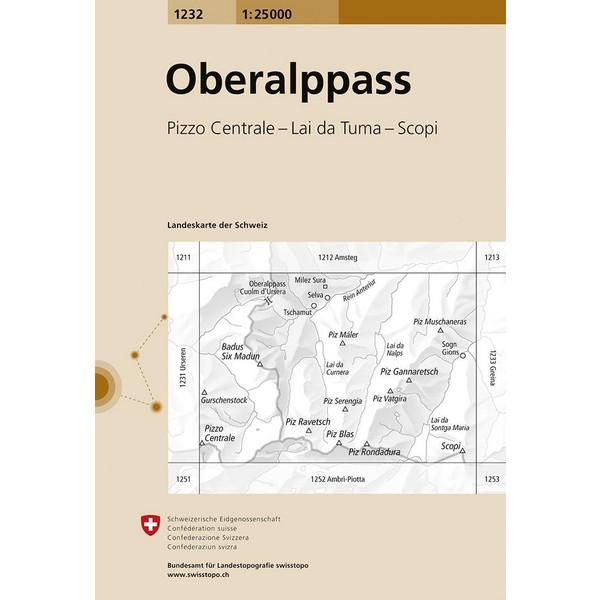 Swisstopo 1 : 25 000 Oberalppass - Wanderkarte