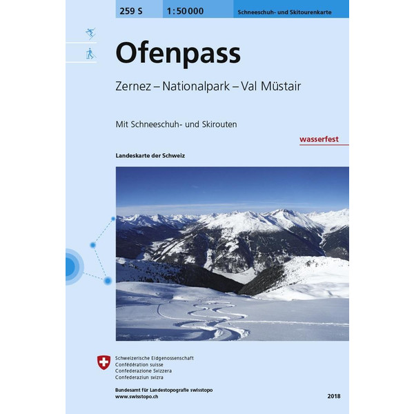 Swisstopo 1 : 50 000 Ofenpass Ski - Wanderkarte