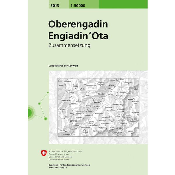 Swisstopo 1 : 50 000 Oberengadin Engiadin' Ota - Wanderkarte