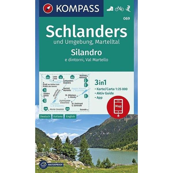 KOMPASS Wanderkarte Schlanders und Umgebung, Martelltal,Silandro e dintorni, Val Martello 1:25 000 - Wanderkarte