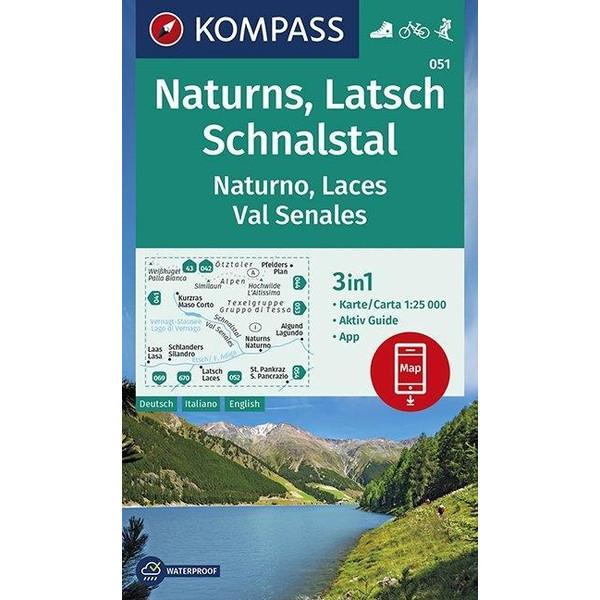 KOMPASS Wanderkarte Naturns, Latsch, Schnalstal, Naturno, Laces, Val Senales 1:25 000 - Wanderkarte