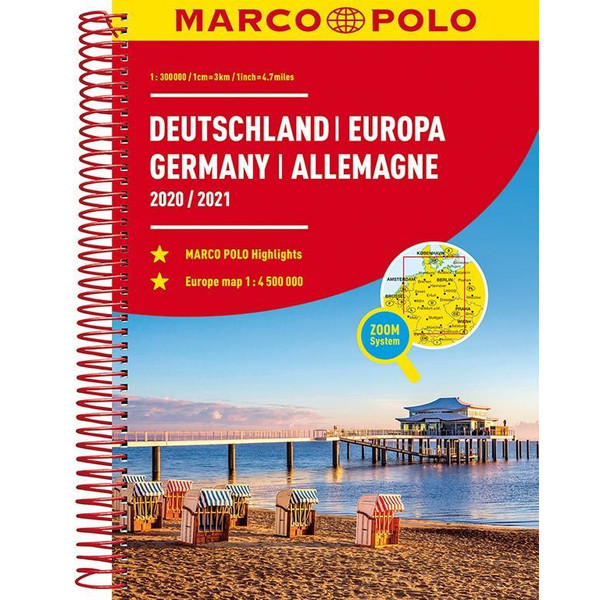 MARCO POLO Reiseatlas Deutschland 2020/2021 1:300 000, Europa 1:4 500 000 - Straßenkarte