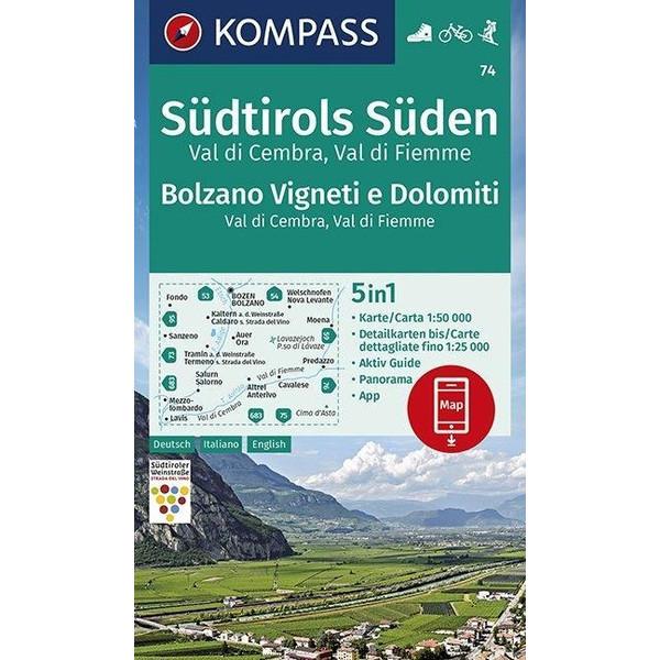 KOMPASS Wanderkarte Südtirols Süden, Bolzano Vigneti e Dolomiti, Val di Cembra, Val di Fiemme 1:50 000 - Wanderkarte