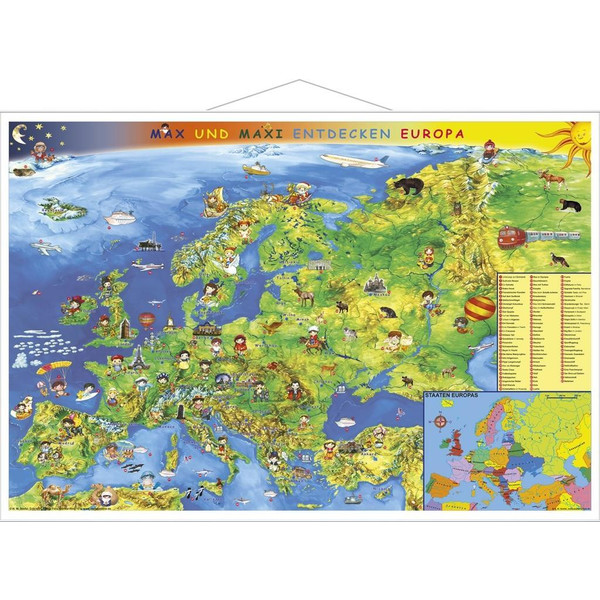 Kindereuropakarte. Wandkarte