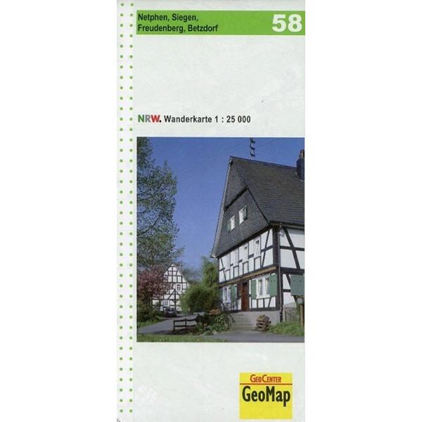 Nordrhein-Westfalen Wanderkarte 58. Netphen, Siegen, Freudenberg, Betzdorf 1 : 25.000 - Wanderkarte