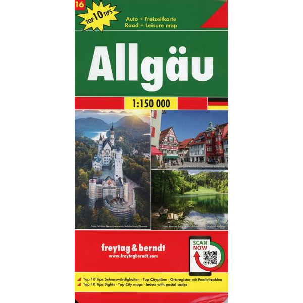 Allgäu, Autokarte 1:150.000, Top 10 Tips, Blatt 16 - Straßenkarte