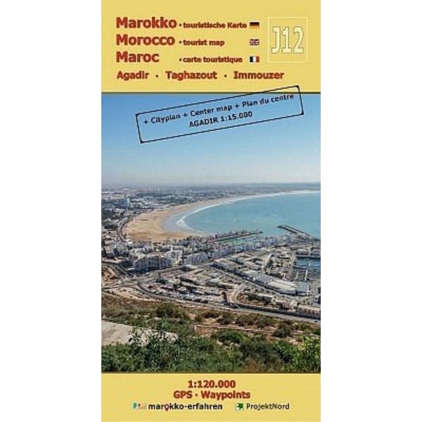 J12: Agadir - Taghazout - Imouzzer 1:120.000 GPS - Waypoints - Straßenkarte