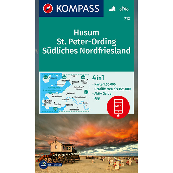 KOMPASS Wanderkarte Husum, St. Peter-Ording, Südliches Nordfriesland 1:50 000 - Wanderkarte