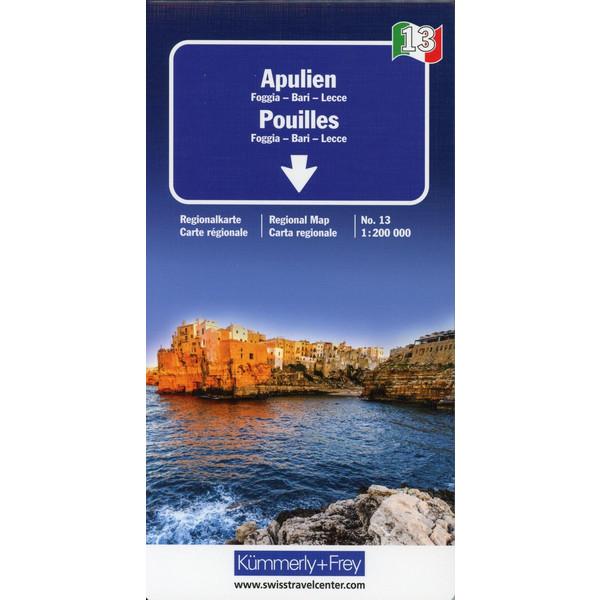 KuF Italien Regionalkarte 13 Apulien 1 : 200 000 - Straßenkarte