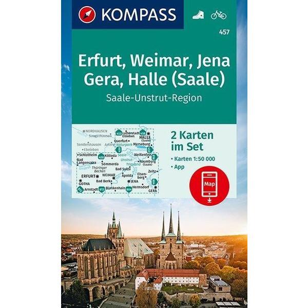KOMPASS Wanderkarte Erfurt, Weimar, Jena, Gera, Halle (Saale) 1:50 000 - Wanderkarte