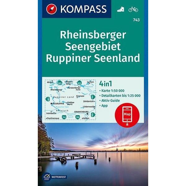 KOMPASS Wanderkarte Rheinsberger Seengebiet, Ruppiner Seenland 1:50 000 - Wanderkarte