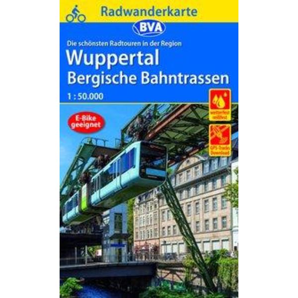 Radwanderkarte BVA Die schönsten Radtouren in der Region Wuppertal, 1:50.000, reiß- und wetterfest, GPS-Tracks Download, E-Bike geeignet - Fahrradkarte