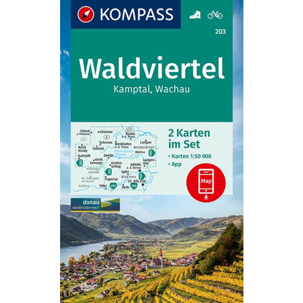 KOMPASS WANDERKARTE WALDVIERTEL, KAMPTAL, WACHAU - Wanderkarte