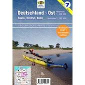 Wassersport-Karte / Deutschland Ost für Kanu- und Rudersport 1 : 125 000  - Wasserkarte