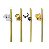 Kikkerland ANIMAL BAMBOO STRAWS S/4  -