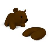 Kikkerland ZIP &  FLIP BEAR HEAD REST BROWN  - Nackenkissen
