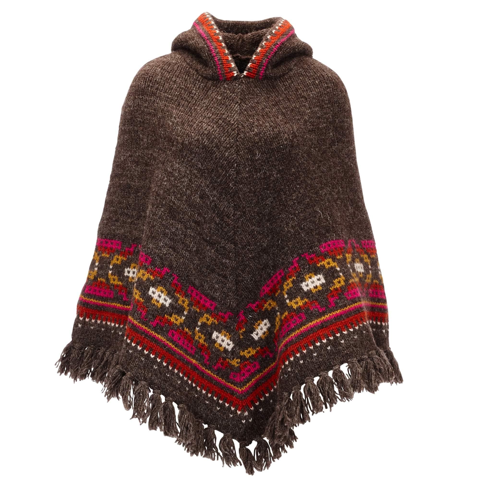 Sherpa Samchi Poncho Damen Gr. uni - braun / brown - Ponchos