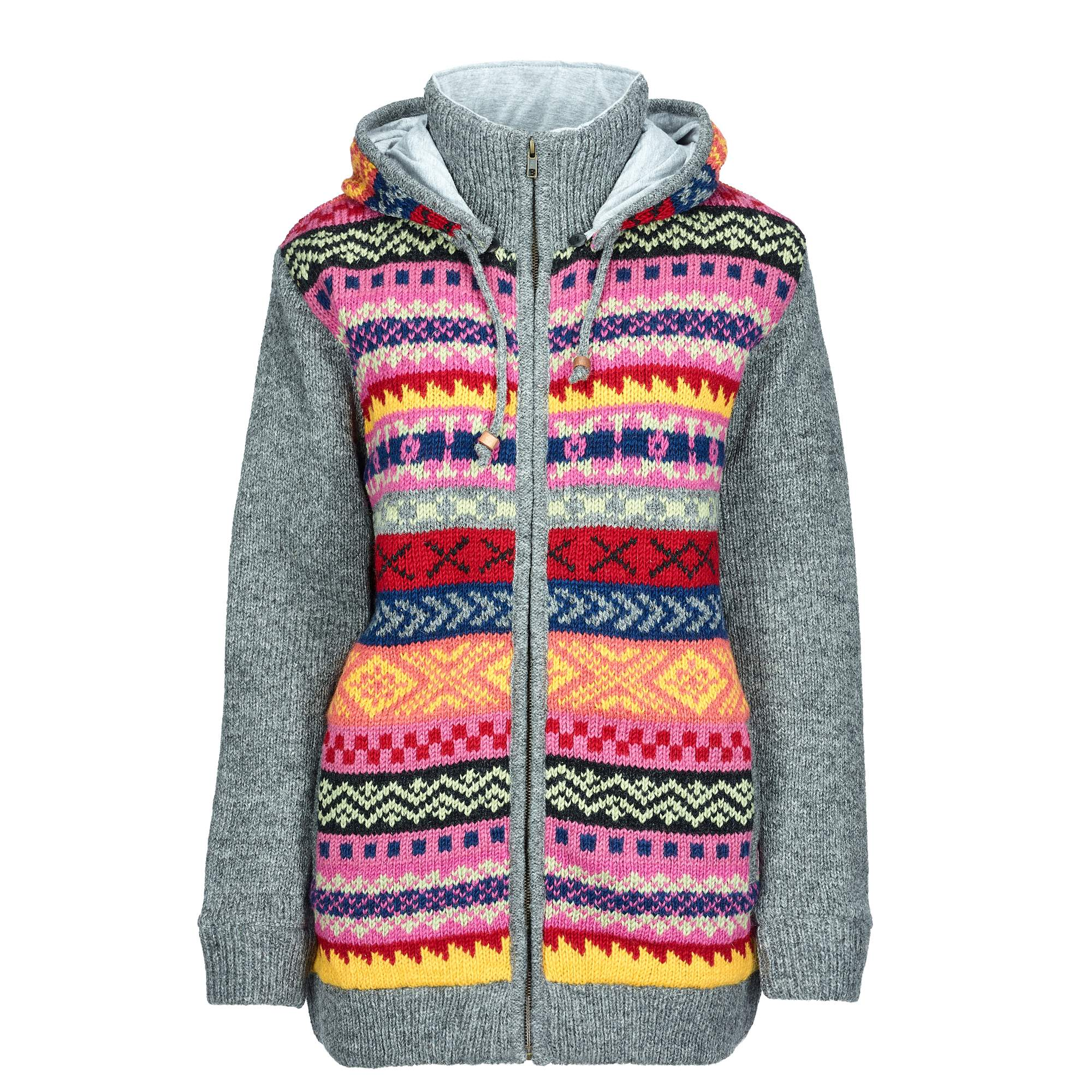 Himalaya Wooljacket Frauen Gr. S - Wolljacke - mehrfarbig grau