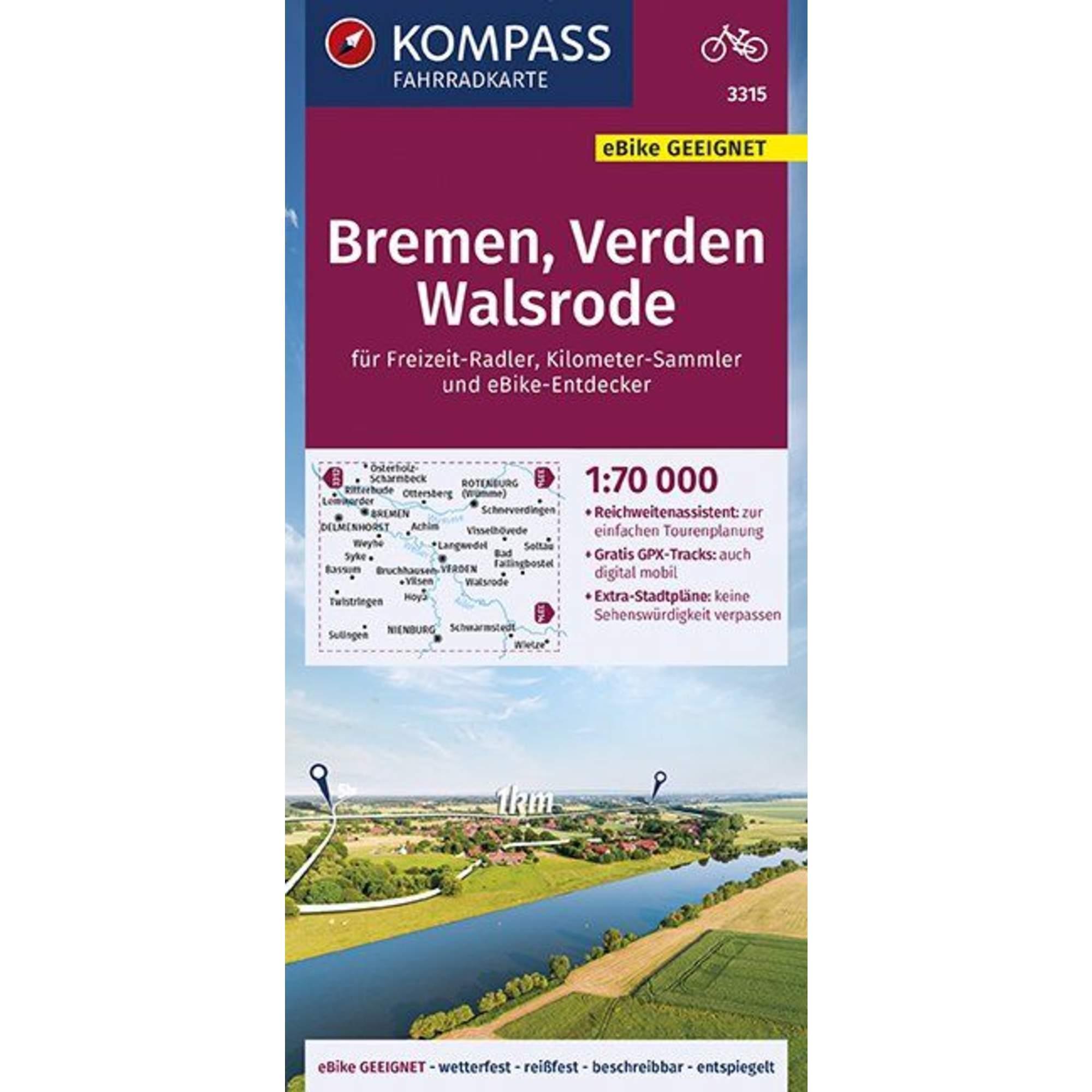 KOMPASS FAHRRADKARTE BREMEN, VERDEN, WAL -  Fahrradkarten