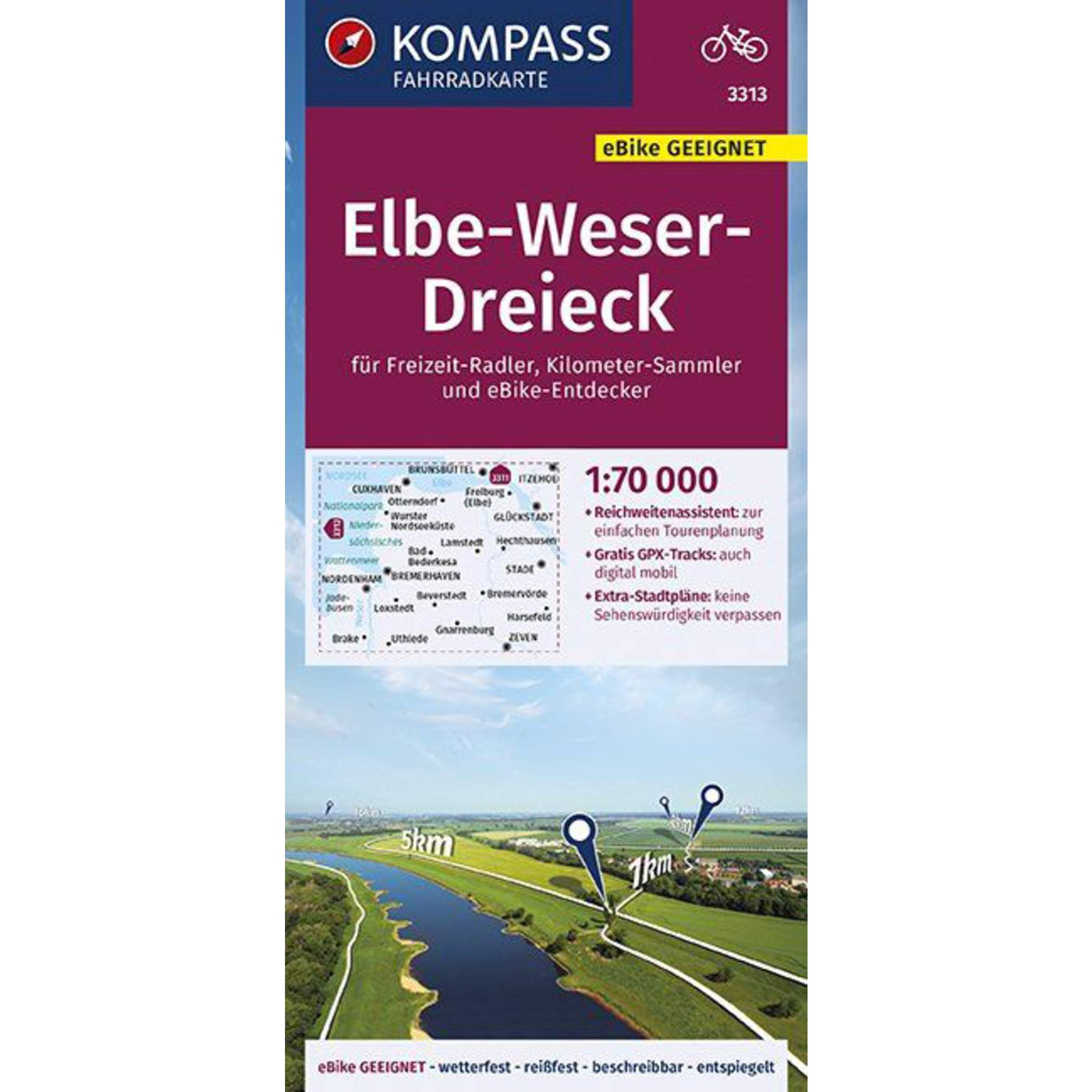KOMPASS FAHRRADKARTE ELBE-WESER-DREIECK -  Fahrradkarten