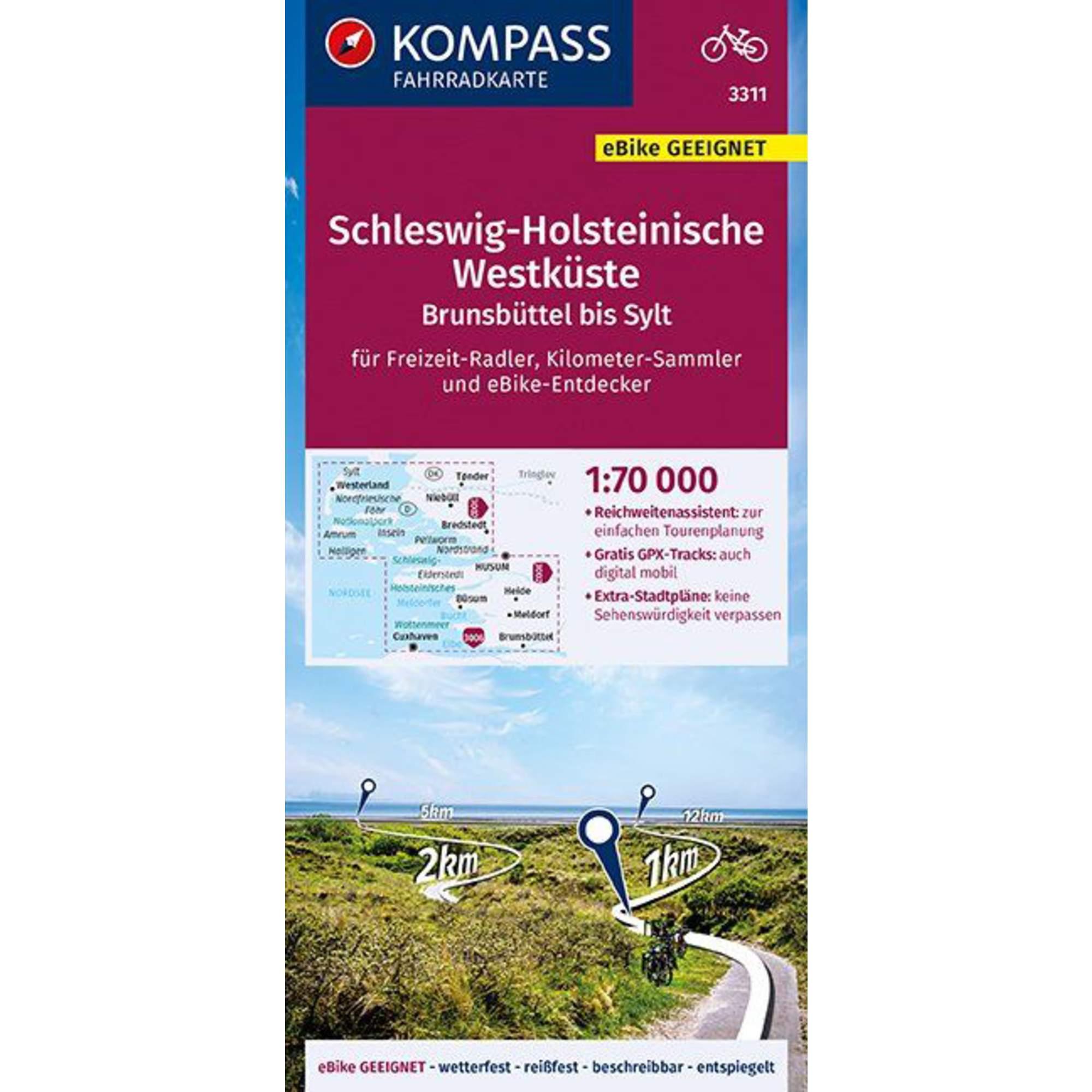 KOMPASS FAHRRADKARTE SCHLESWIG-HOLSTEINI -  Fahrradkarten