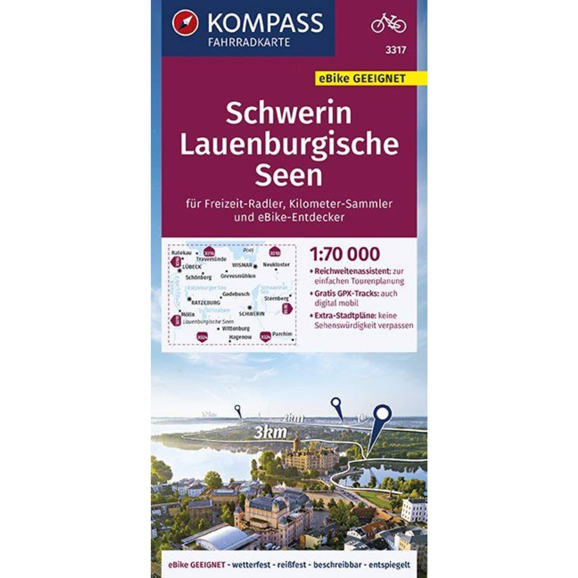 KOMPASS FAHRRADKARTE SCHWERIN, LAUENBURG -  Fahrradkarten